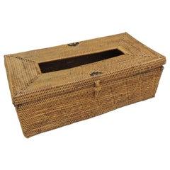 Vintage Rattan Rectangular Tissue Box Holder