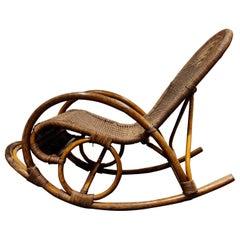 Vintage Rattan Rocking Chair, 1960s