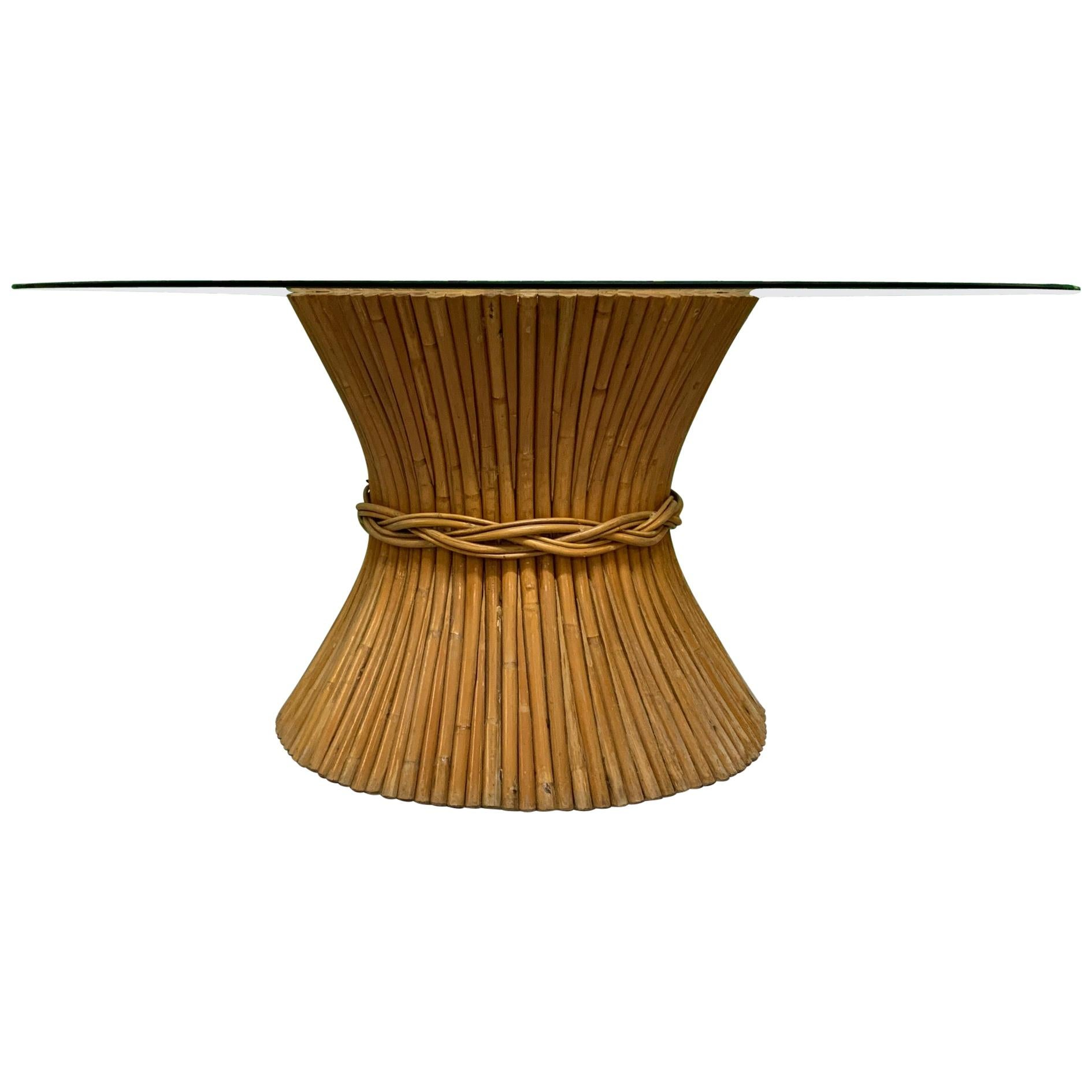 Vintage Rattan Sheaf of Wheat Dining Table by McGuire