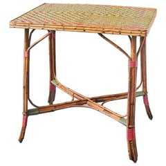 Vintage Rattan Table with Elegant Coral and Green Woven Details, France, 1930s