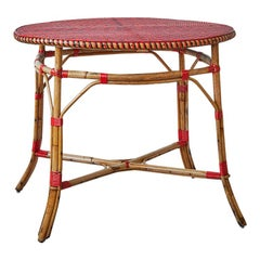 Vintage Rattan Table with Elegant Red Woven Details, France, Early 20th-Century
