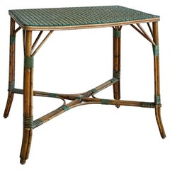Vintage Rattan Table with White and Green Woven Details, France, 1930s