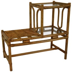 Vintage Rattan Two-Tier Side Table