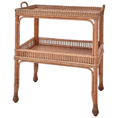 Vintage Rattan Two-Tier Tray Table with Woven Details, France, 1930s