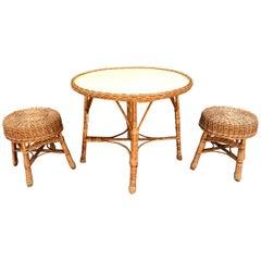 Vintage Rattan Veranda Table Set