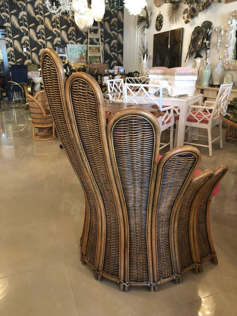 Vintage Rattan Wicker Peacock Fan Back Arm Chair And