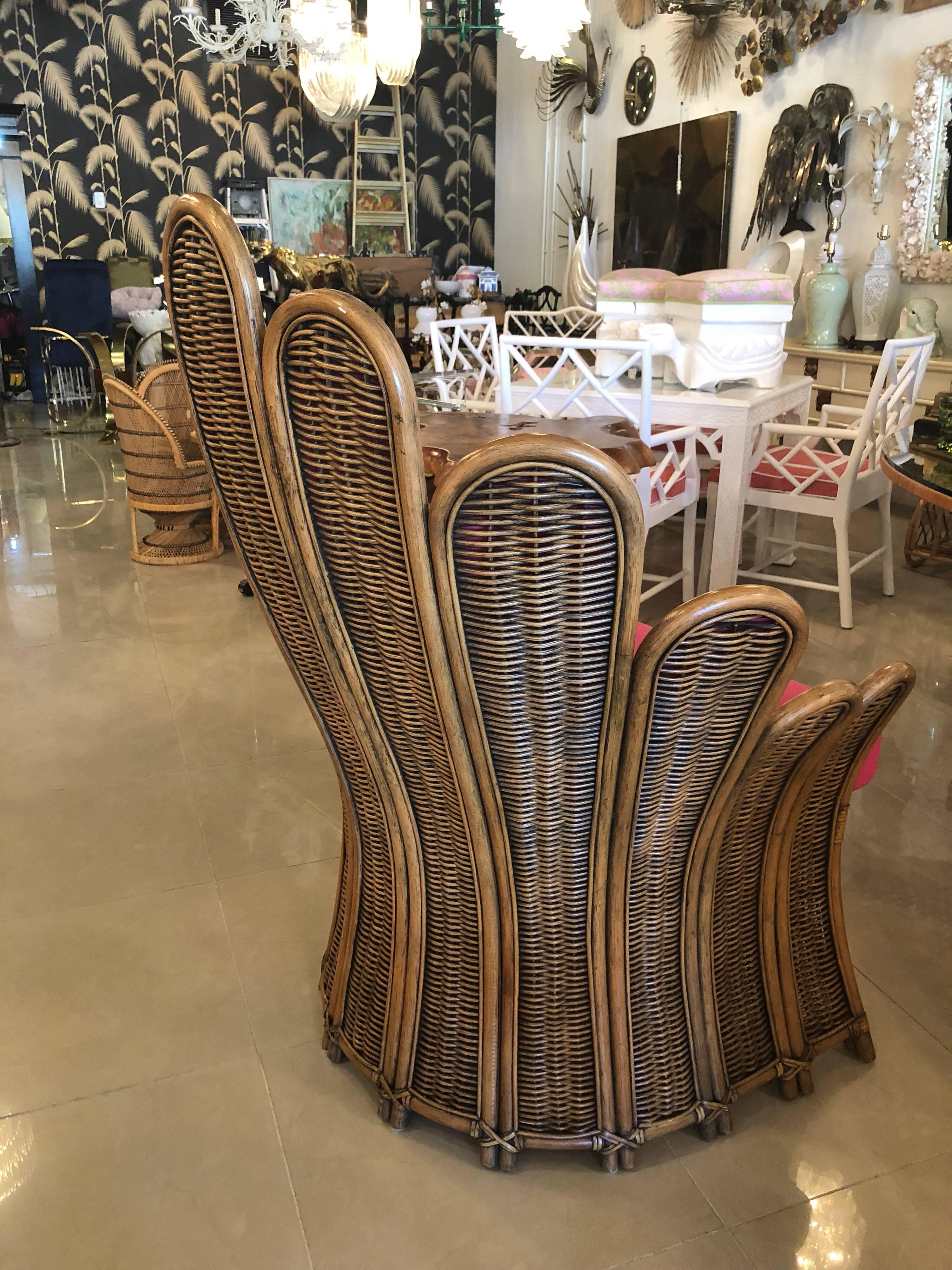 American Vintage Rattan Wicker Peacock Fan Back Arm Chair U0026 Ottoman  Footstool Upholstered For Sale