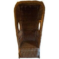 Vintage Rattan Wicker-Woven Porters Chair