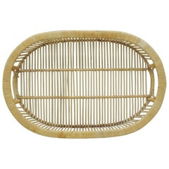 Vintage Rattan Woven Oval Serving Tray with Handles