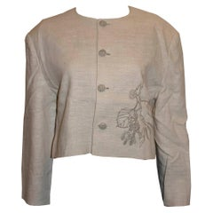 Vintage Raw Linen Mix Jacket with Embroidery Detail