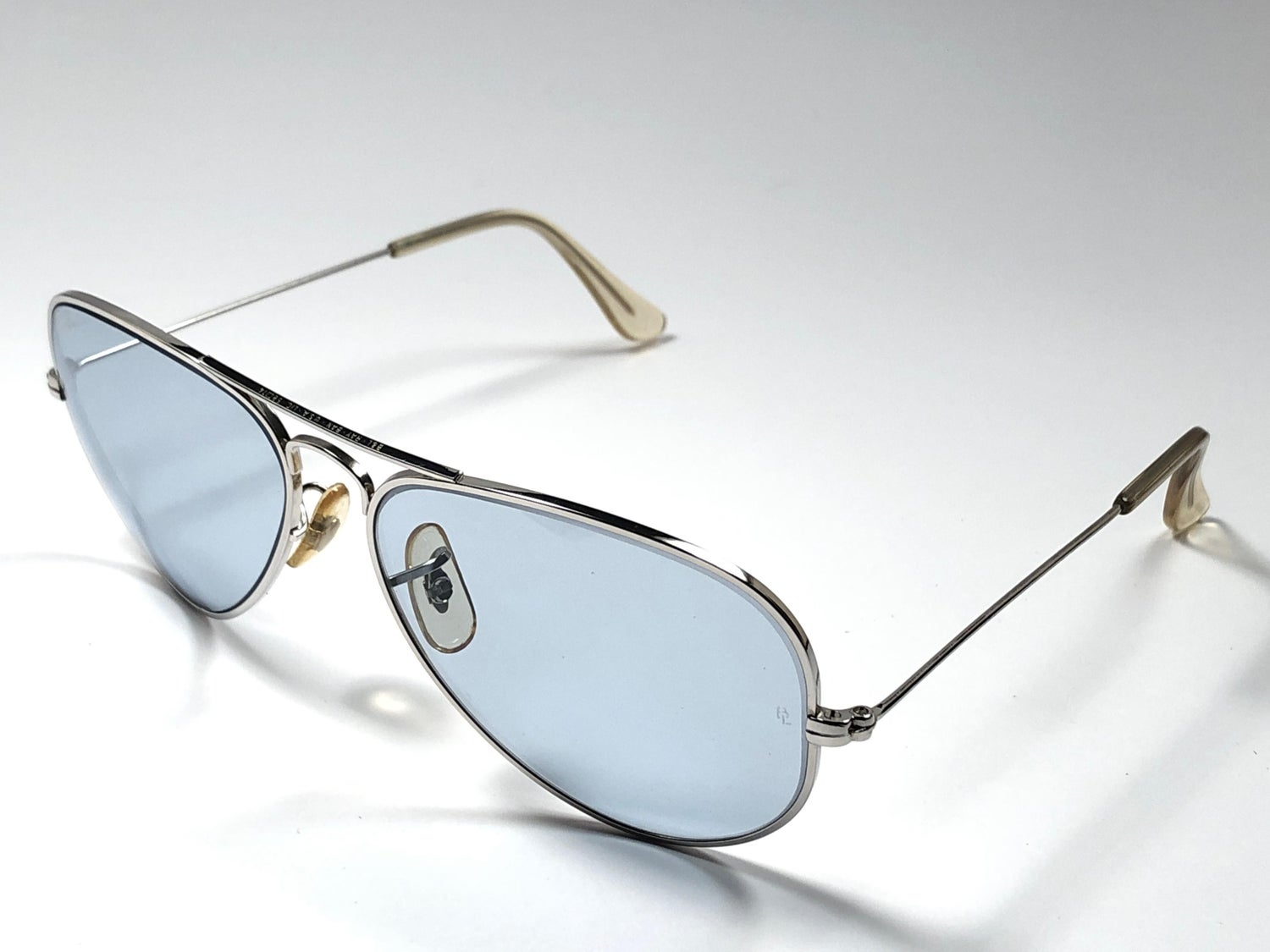 928071375 Vintage Ray Ban Aviator 58Mm Steel Blue Changeable Lenses B&L Sunglasses  For Sale at 1stdibs