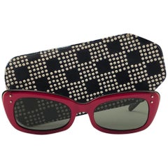 Vintage Ray Ban Chase Red & Black 1960's Mid Century G15 Lenses USA Sunglasses