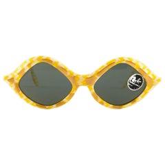 Vintage Ray Ban Tamarin Yellow 1960's Mid Century G15 Lens USA B&L Sunglasses