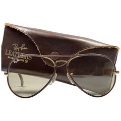 Vintage Ray Ban Vintage Brown Leathers Aviator Changeable Lens 58 B&L Sunglasses