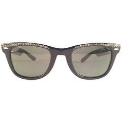 Vintage Ray Ban Wayfarer B&L Black Rhinestone Edition Rare Collector Sunglasses