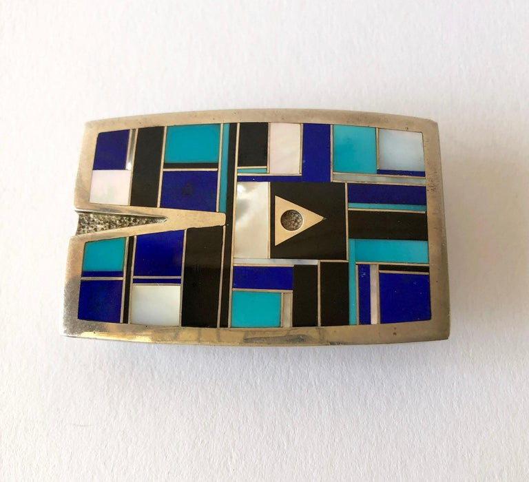 Square Cut Vintage Ray Tracey Turquoise Mother of Pearl Lapis Lazuli Inlay Belt Buckle For Sale