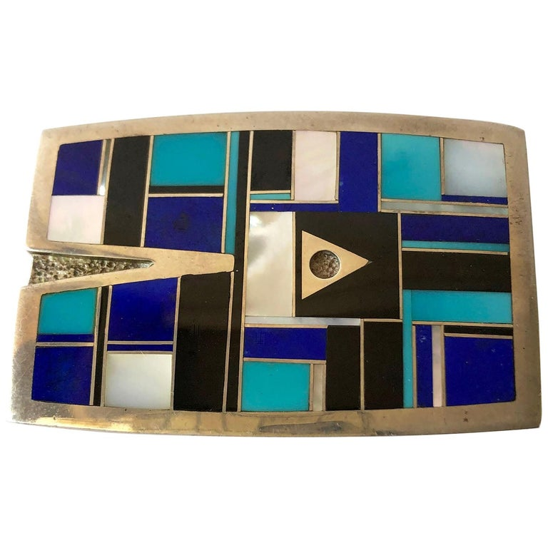 Vintage Ray Tracey Turquoise Mother of Pearl Lapis Lazuli Inlay Belt Buckle For Sale