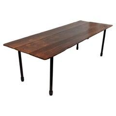 Vintage Reclaimed Wood Plank Table on Industrial Metal Legs