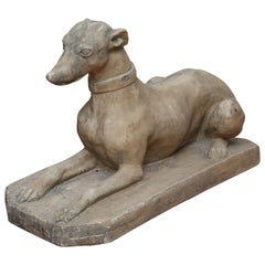 Vintage Reclining Greyhound Sculpture