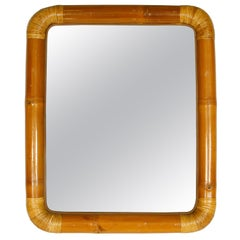 Vintage Rectangular Bamboo and Rattan Mirror