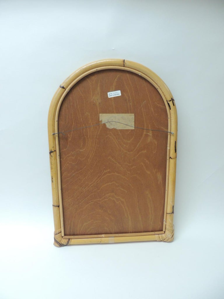 Hand-Crafted Vintage Rectangular Bamboo Mirror For Sale