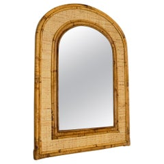 Vintage Rectangular Bamboo Mirror with Rounded Top