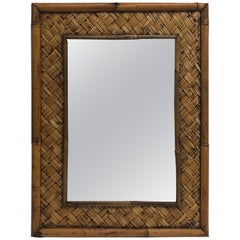 Vintage Rectangular Bamboo Mirror with Trellis Pattern Border