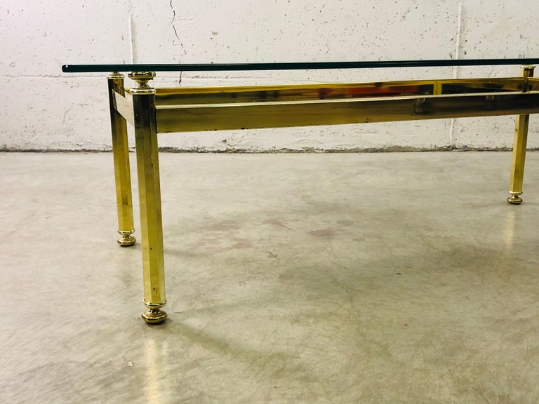Mid-Century Modern Vintage Rectangular Brass and Glass Top Coffee Table For Sale