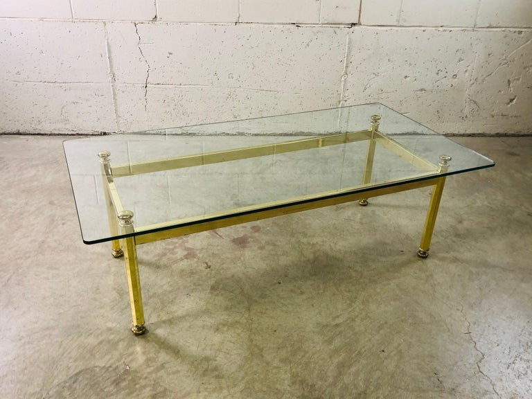 Vintage Rectangular Brass and Glass Top Coffee Table In Good Condition For Sale In Amherst, NH