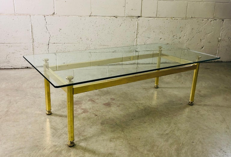 20th Century Vintage Rectangular Brass and Glass Top Coffee Table For Sale