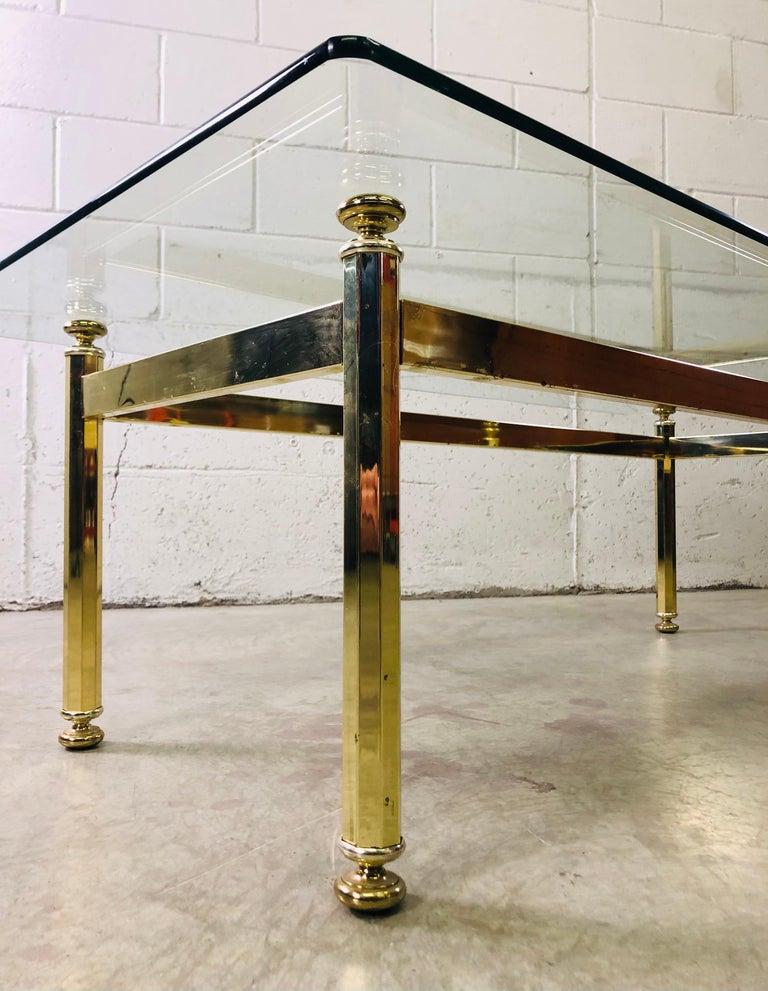 Vintage Rectangular Brass and Glass Top Coffee Table For Sale 2