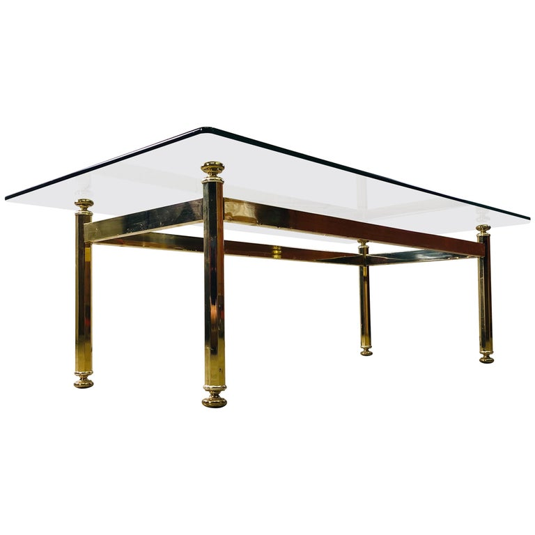 Vintage Rectangular Brass and Glass Top Coffee Table For Sale