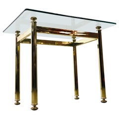Vintage Rectangular Brass and Glass Top Side Table