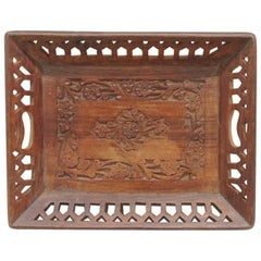 Vintage Rectangular Decorative Wooden Tray with Floral Pattern