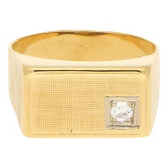 Vintage Rectangular Diamond Signet Ring in Yellow and White Gold