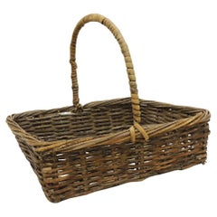 Vintage Rectangular Flowers Collecting Basket