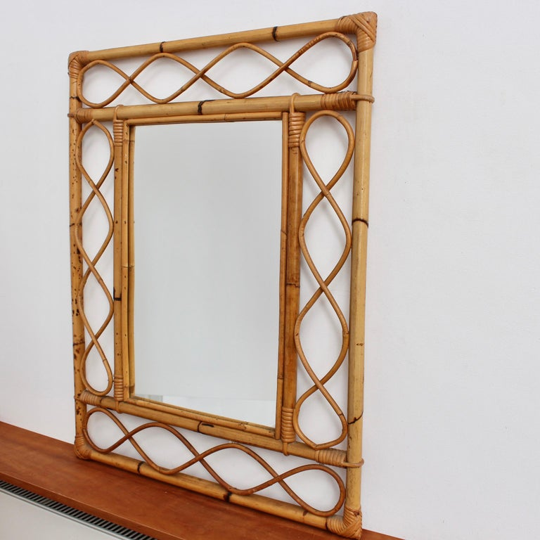 Vintage Rectangular French Rattan Wall Mirror 'circa 1960s' For Sale 5