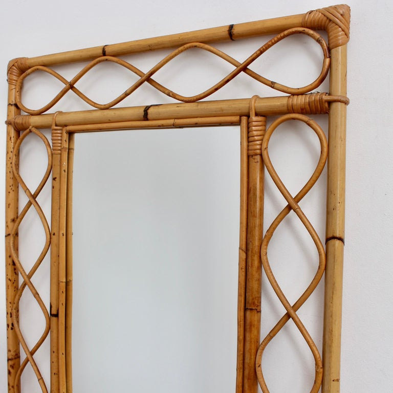 Vintage Rectangular French Rattan Wall Mirror 'circa 1960s' For Sale 6