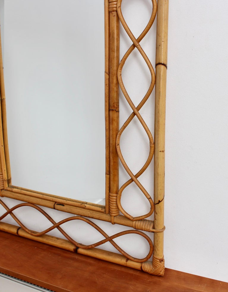 Vintage Rectangular French Rattan Wall Mirror 'circa 1960s' For Sale 8