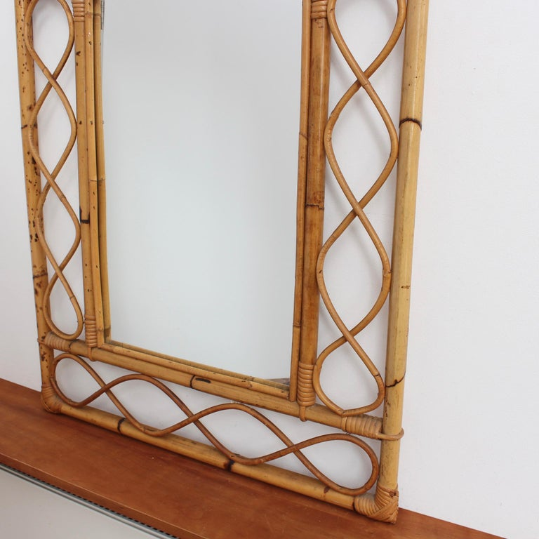 Vintage Rectangular French Rattan Wall Mirror 'circa 1960s' For Sale 9