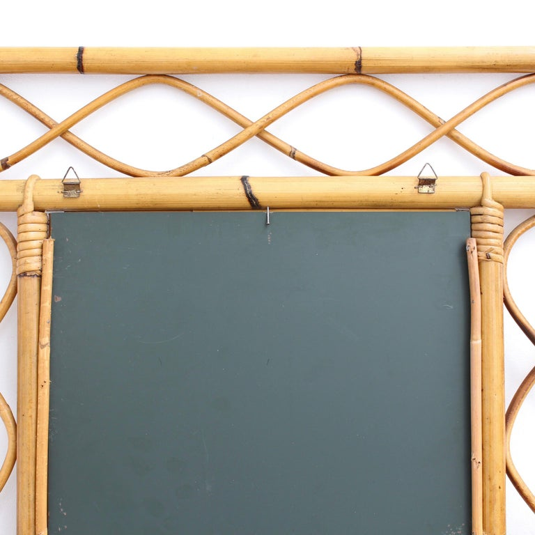 Vintage Rectangular French Rattan Wall Mirror 'circa 1960s' For Sale 10