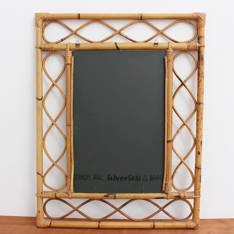 Vintage Rectangular French Rattan Wall Mirror 'circa 1960s' For Sale 11