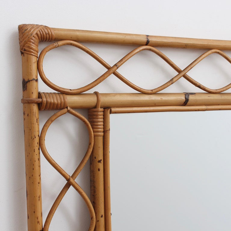 Vintage Rectangular French Rattan Wall Mirror 'circa 1960s' In Fair Condition For Sale In London, GB
