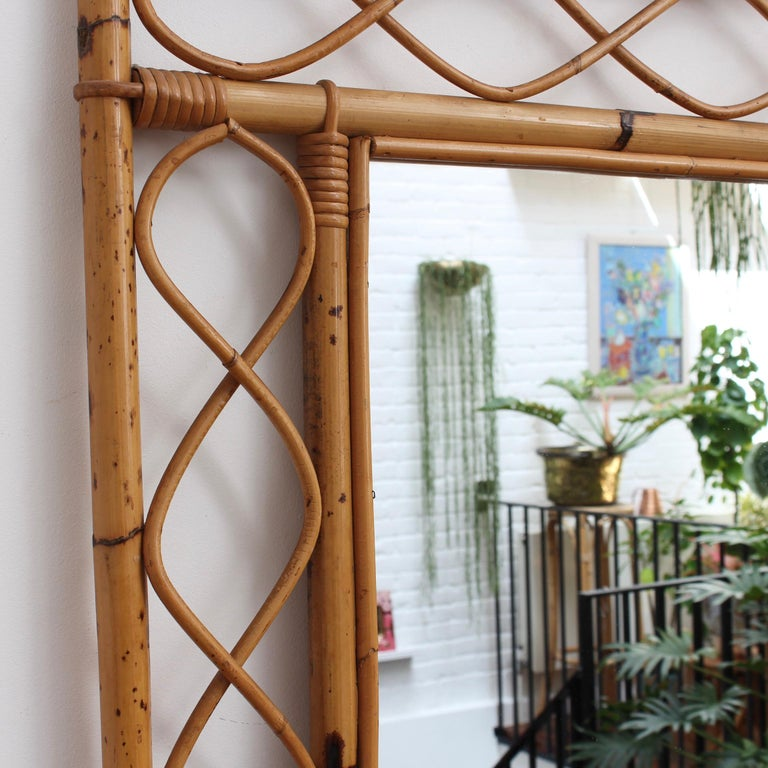 Mid-20th Century Vintage Rectangular French Rattan Wall Mirror 'circa 1960s' For Sale
