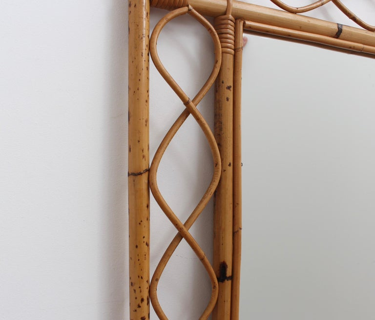 Vintage Rectangular French Rattan Wall Mirror 'circa 1960s' For Sale 1