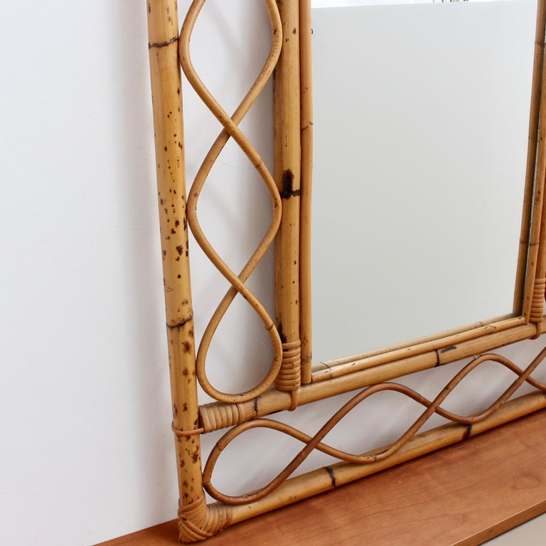Vintage Rectangular French Rattan Wall Mirror 'circa 1960s' For Sale 2