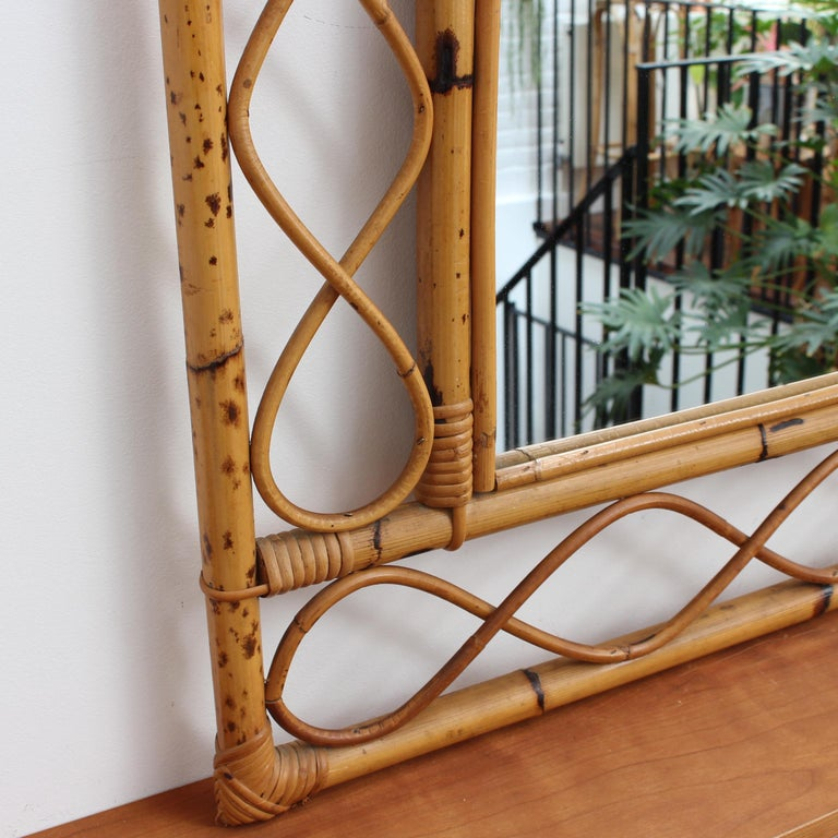 Vintage Rectangular French Rattan Wall Mirror 'circa 1960s' For Sale 3