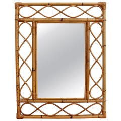 Vintage Rectangular French Rattan Wall Mirror 'circa 1960s'