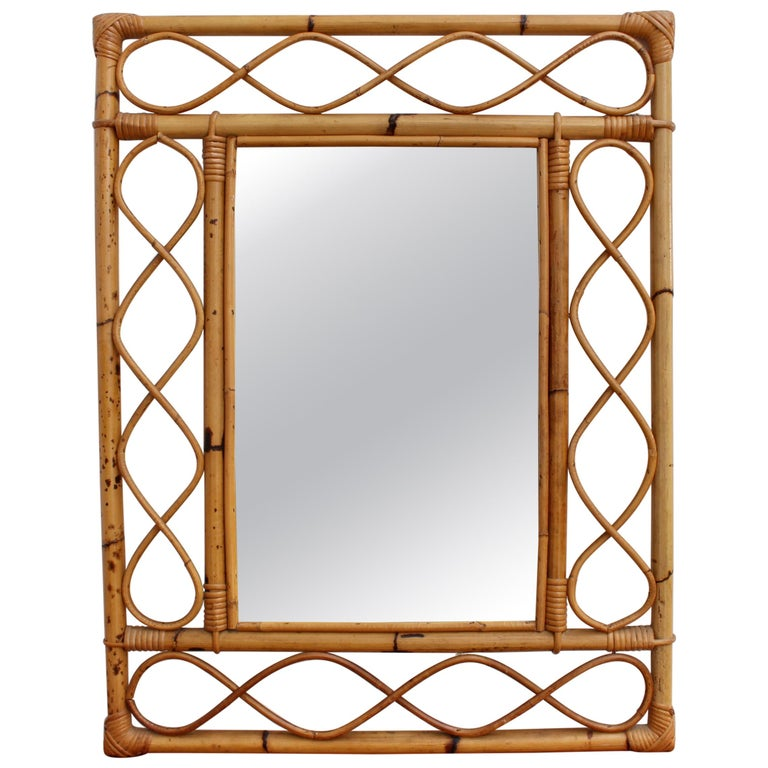 Vintage Rectangular French Rattan Wall Mirror 'circa 1960s' For Sale
