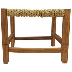 Vintage Rectangular Shaker Style Foot Stool with Seagrass Woven Seat